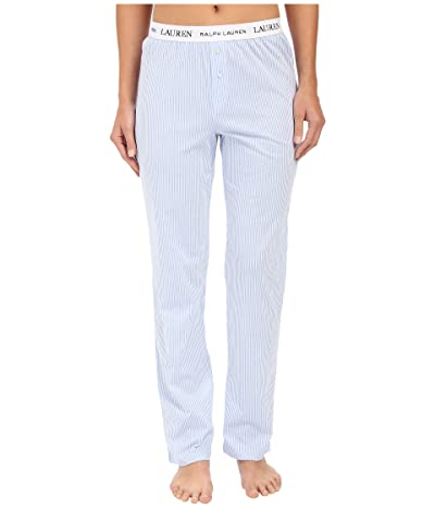 LAUREN Ralph Lauren Pants w/ Logo Elastic (Stripe Pale Blue/White) Women