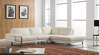 American Eagle Furniture Marina Modern Italian Leather Right Facing Sectional, 114