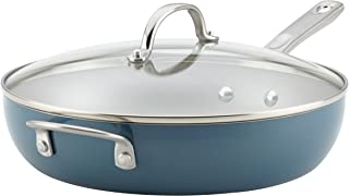 Ayesha Curry 10756 Home Collection Porcelain Enamel Nonstick Covered Deep Skillet With Helper Handle, 12 Inch Frying Pan with Glass Lid, Twilight Teal