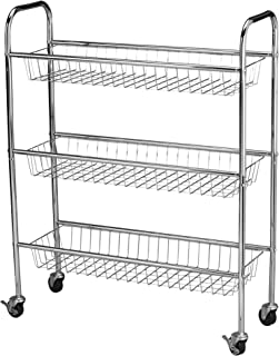 Household Essentials 5133-1 Slim Line 3-Tier Metal Storage Cart   Laundry Room Rolling Organizer   Chrome