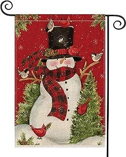 AVOIN Snowman with Buffalo Plaid Scarf Garden Flag Vertical Double Sized, Winter Holiday Christmas Burlap Yard Outdoor Decoration 12.5 x 18 Inch