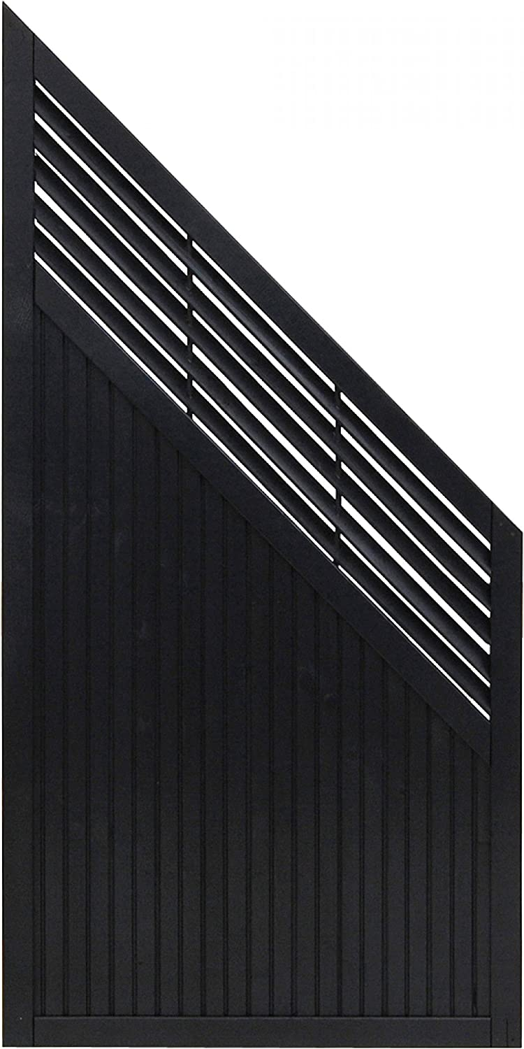 Andrewex wooden fence, garden fence, fencing panel 180 90 x 90cm, varnished, anthracite