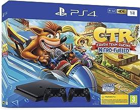 Sony PlayStation 4 Slim 1 To + Crash Team Racing, Avec 2 manettes sans fil DUALSHOCK 4 V2, Châssis F, Noir (Jet Black)