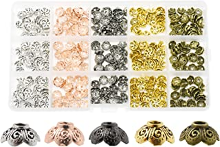 Mandala Crafts End Bead Cap, End Cap Bead Cover Assorted Set from Metal for Jewelry Making; Rose Gold, Gunmetal, Silver, Gold Color (Bali Filigree, 9mm)