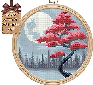 Cross stitch patterns pdf, tree landscape cross stitch sampler, nature moon cross stitch, easy modern counted cross stitch,
