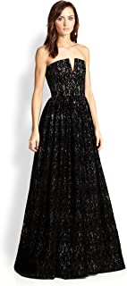 Alice+Olivia Strapless Lace Bustier Black Evening Gown (4)