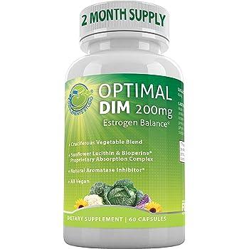 Optimal DIM Supplement 200mg Plus - Estrogen Balance - Organic Whole Foods, Sunflower Lecithin/BioPerine Proprietary Absorption Complex, Aromatase Inhibitor, All Vegan, 60 DRcaps, 2 Month Supply