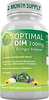 Optimal DIM Supplement 200mg Plus - Estrogen Balance - Organic Whole Foods, Sunflower Lecithin/BioPerine Proprietary Absor...