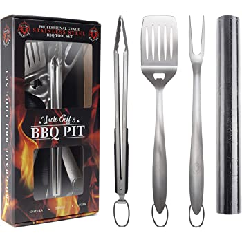 "Heavy Duty BBQ Grilling Tools Set - Professional Grade 18"" Long Stainless Steel 4-Piece Barbecue Grill Kit includes Over Sized Spatula, Fork, Tongs & BBQ Mat - Perfect BBQ Gift For Your BBQ Lover"