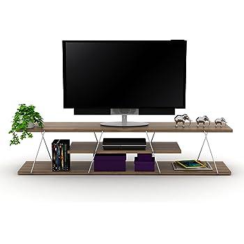 Vivense Tars - Mueble de TV de madera de nogal con estante para televisores de hasta 55 pulgadas (143 x 32 cm): Amazon.es: Hogar