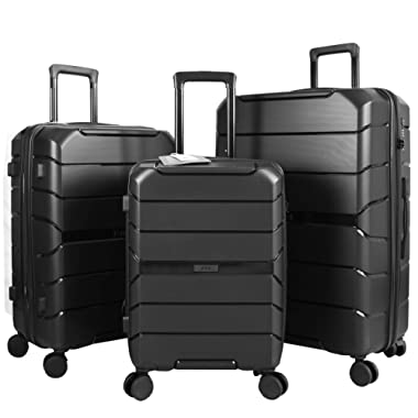 Travel Crescent  PP Expandable Suitcases 3-Piece Hardside Spinner Wheels Luggage-Sets (BLACK)