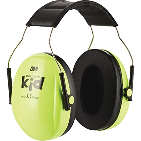 3M Peltor Kid Cache-oreilles vert fluo - Protection auditive pour enfants avec bandeau réglable pour un bruit jusqu'à 98dB - Protection auditive SNR 27 avec un confort de port élevé et un faible poids