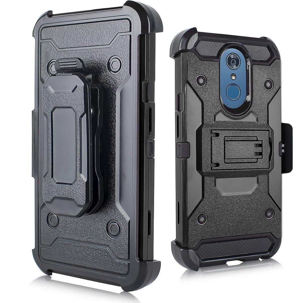 for LG Q7, Q7 Plus, Q7+, Q7α (Q610) Duo Defense Heavy Duty Rugged Holster Armor Combo Case [Belt Swivel Clip & Kickstand] (Black)