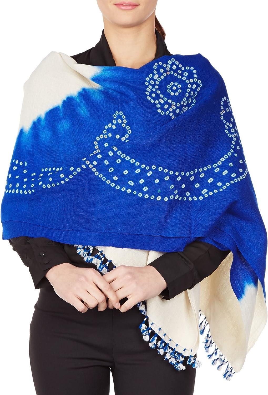 bluee Cream Shawl Wrap For Women Indian Woolen TieDye Handmade Gifts 36X80 Inch