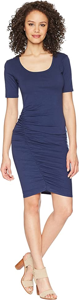 Michael Stars - Cotton Lycra® Elbow Sleeve Scoop Neck Dress