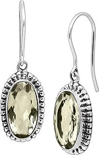 Everafter' Natural Green Amethyst Drop Earrings in Sterling Silver