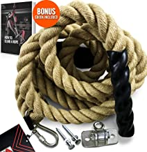 """Easy-Install Gym Climbing Rope with Mounting Hardware for Fitness and Strength Training, Military Exercise and Home Gym Workouts, Indoor and Outdoor, 1.5"""" Thickness, Length Available: 15/20/25 Feet"""