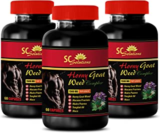 Enhancement Male - Horny Goat Weed - EPIMEDIUM 1560MG - All Natural Premium Herbal Blend - Promotes Healthy Sexual Vitality - Horny Goat Weed libido Complex - 3 Bottles (180 Capsules)