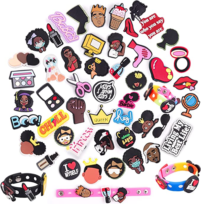 50 PCS Black Girl Magic Shoe Charms, PVC Charms Decoration for Women Adults Teens Boys Kids Bling Accessories Charms Pins Fit for Shoes and with 3 PCS Bracelets Wristbands
