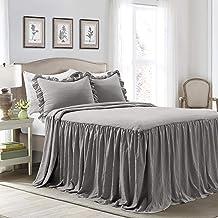 Lush Decor Dark Gray Lush Décor Ruffle Skirt Bedspread Shabby Chic Farmhouse Style..