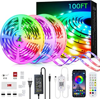 100ft Led Strip Lights, Livingpai Color Changing LED Light Strips with Music Sync, Remote, Built-in Mic, Bluetooth App Con...