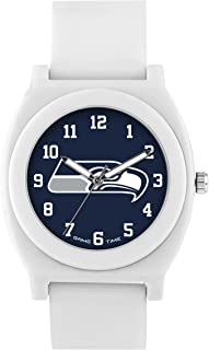 Game Time Women's 'Fan' Quartz Plastic and Rubber Casual Watch, Color:White (Model: NFL-FNW-SEA)
