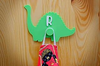 Dinosaurio cuelgamascarilla de pared infantil personalizado. Gancho para colgar la mascarilla. Hecho en España