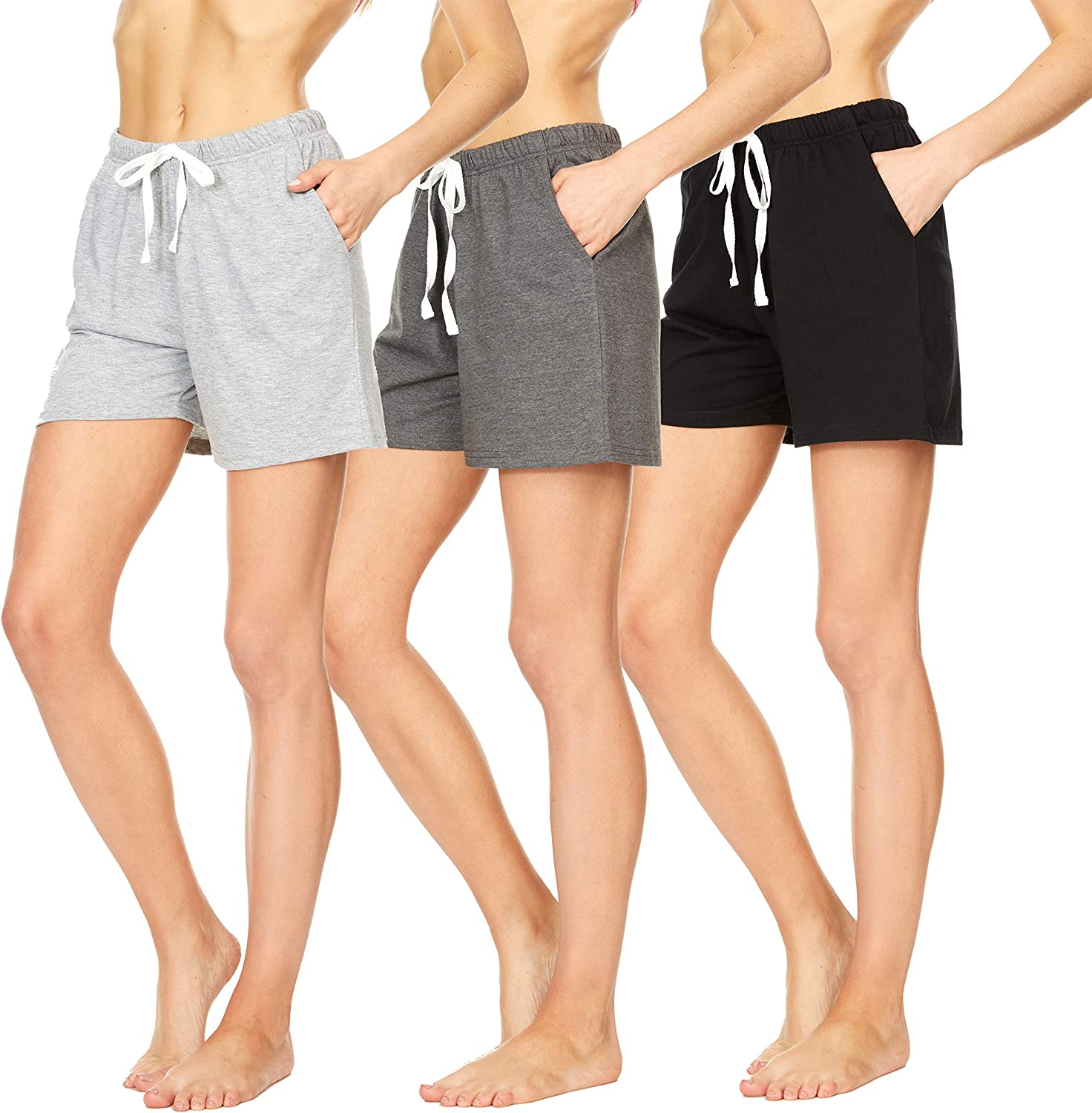 Essential Elements 3 Pack: Women's 100% Cotton Casual Active Gym Lounge Sleep Bottom Pajama Shorts
