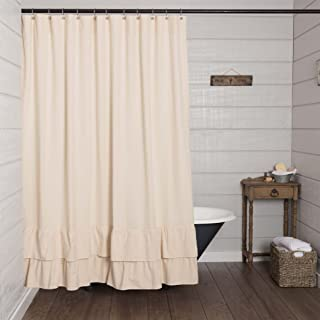 Piper Classics Ruffled Chambray Natural Shower Curtain, 72x72, Farmhouse & Country Style