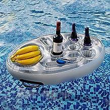 Soporte de alcohol flotante inflable con 8 hoyos para piscinas y bañera de hidromasaje, 27.56x19.68 pulgadas Piscina inflable de PVC refrigerante, bandeja de alimentos flotantes para piscina Playa