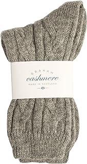 Graham Cashmere, Calcetines de cachemira puro para cama de cable, fabricado en Escocia, en caja de regalo