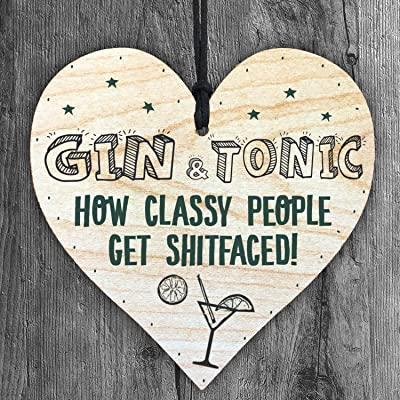 Resmoni Gin & ☛ Tonic Classy People Get Shitfaced. Plaque en Bois Faite à la Main en Forme de cœur à Suspendre. Cadeau idéal pour Votre Meilleure amitié (2 Cordes de Couleur).