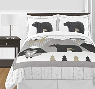 Sweet Jojo Designs Beige Grey White Boho Mountain Animal Unisex Boy or Girl Full Queen Size Kid Childrens Bedding Comforter Set for Gray Woodland Forest Friends Collection - 3 Pieces - Deer Fox Bear