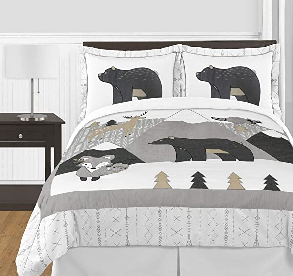 Sweet Jojo Designs Beige Grey White Boho Mountain Animal Unisex Boy Or Girl Full Queen Size Kid Childrens Bedding Comforter Set For Gray Woodland Forest Friends Collection 3 Pieces Deer Fox Bear