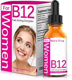 Vitamin B12 Liquid Drops for Women - Superior Absorption to Increase Metabolism and Boost Energy Levels, Made in USA - 2 Fluid Ounces