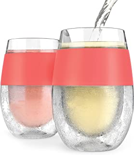 HOST Wine Freeze Cooling Cup, Set of 2, Double Wall Insulated Freezable Drink Chilling Tumbler with Freezing Gel, Gl for R...