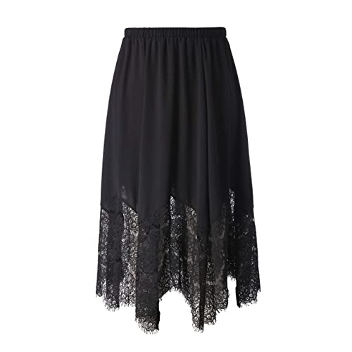 69c0575ce4 Chicwe Women's Plus Size Long Flare Lace Trimmed Skirt with Elastic  Waistband - Casual and Work