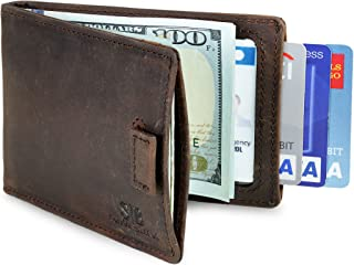 RFID Blocking Bifold Slim Genuine Leather Minimalist Front Pocket Wallets for Men Money Clip