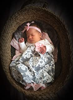 Newborn Baby Girl Coming Home Layette Gown Headband Set Newborn Hospital Photo Outfit Pink Gray
