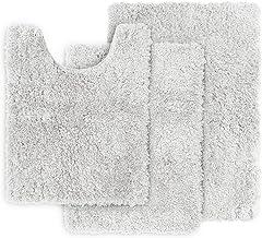 Clara Clark Shaggy Bath Rug with Non-Slip Backing Rubber Super Soft Bathmat, White, 3 Piece Set