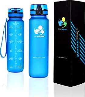 RIVERMOUNT - 1L Motivational Water Bottle with Time Markings and Smart Hydration Tracker - Leak Proof, Flip Top Lid, BPA F...