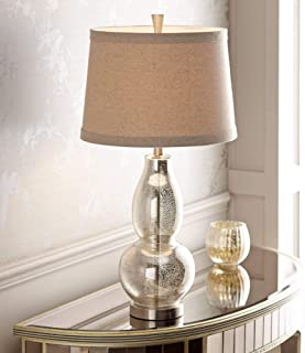 Modern Table Lamp Mercury Glass Silver Double Gourd Natural Linen Drum Shade for Living Room Family Bedroom Nightstand - 360 Lighting
