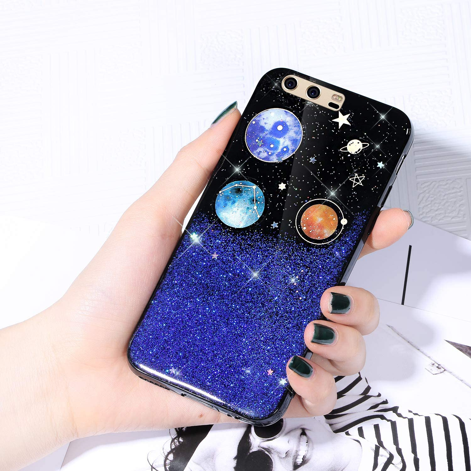 Case for 2021 new Huawei P10 Cover Starry Glitter Sky New sales Sparkle Shiny