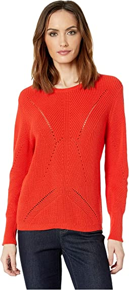 Long Sleeve Lace Back Mock Neck Cable Sweater