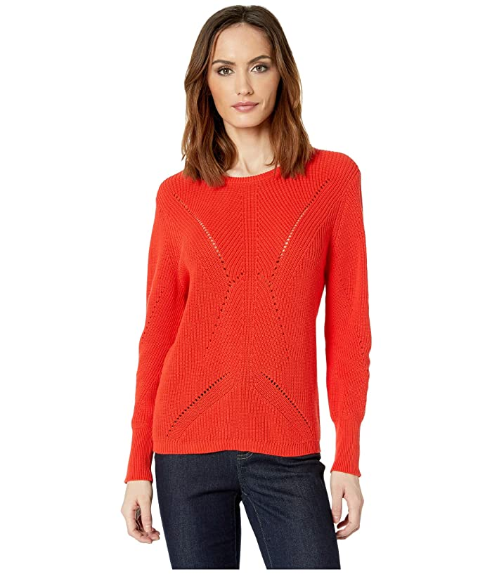 Vince Camuto Long Sleeve Lace Back Mock Neck Cable Sweater