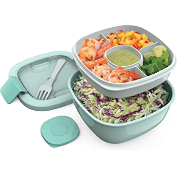 Bentgo Salad BPA-Free Lunch Container with Large 54-oz Bowl, 3-Compartment Bento-Style Tray for Salad Toppings and Snacks, 3-oz Sauce Container for Dressings, and Built-In Reusable Fork (Coastal Aqua)