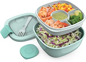 Bentgo Salad - Stackable Lunch Container with Large 54-oz Salad Bowl, 4-Compartment Bento-Style Tray for Toppings, 3-oz Sauce Container for Dressings, Built-In Reusable Fork & BPA-Free (Coastal Aqua)