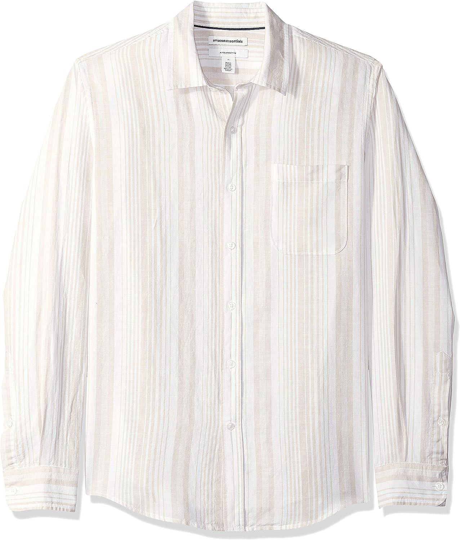 1920s Men's Shirts and Collars History Amazon Essentials Mens Slim-Fit Long-Sleeve Linen Cotton Shirt  AT vintagedancer.com
