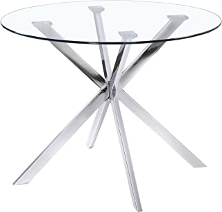 Uptown Club Franz Collection State-of-the-art Designed Round Glass Top Dining Table, 41.3