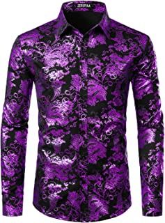 ZEROYAA Men's Luxury Paisley Gold Shiny Printed Stylish Slim Fit Button Down Dress Shirt